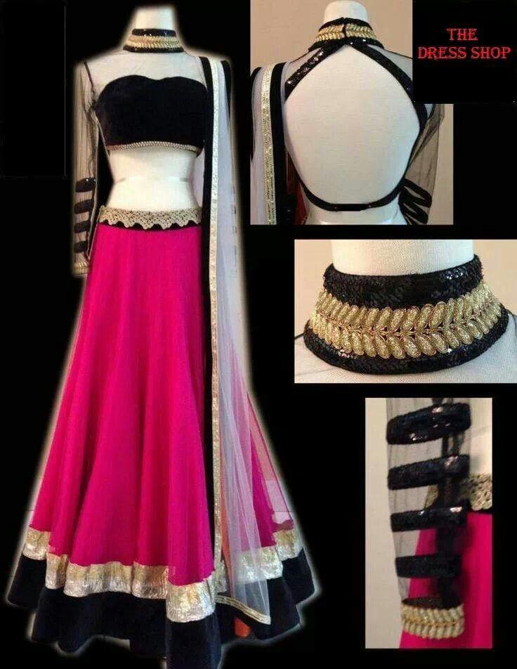 Pink n black net lehenga