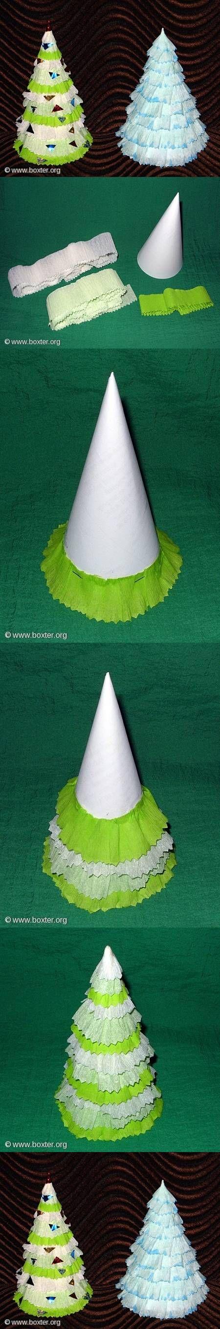 DIY Crepe Paper Christmas Tree DIY Projects | UsefulDIY.com Follow Us on Facebook ==> http://www.facebook.com/UsefulDiy