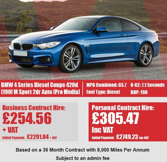 BMW 4 Series Diesel Coupe 420d [190] M Sport 2dr Auto [Professional Media]