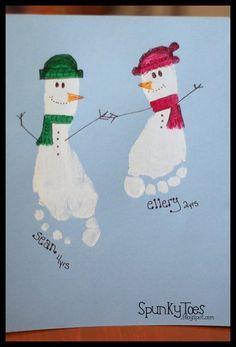 Kreative Schneemänner aus Fußabdrücken!