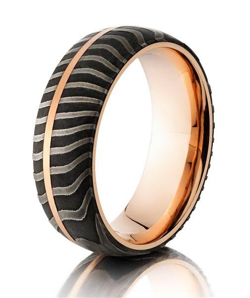 The Winners 2014 Jewelers Choice Awards Handmade Tiger Patterned Damascus Steel Ring With Rose Gold Sleeve And Inlay