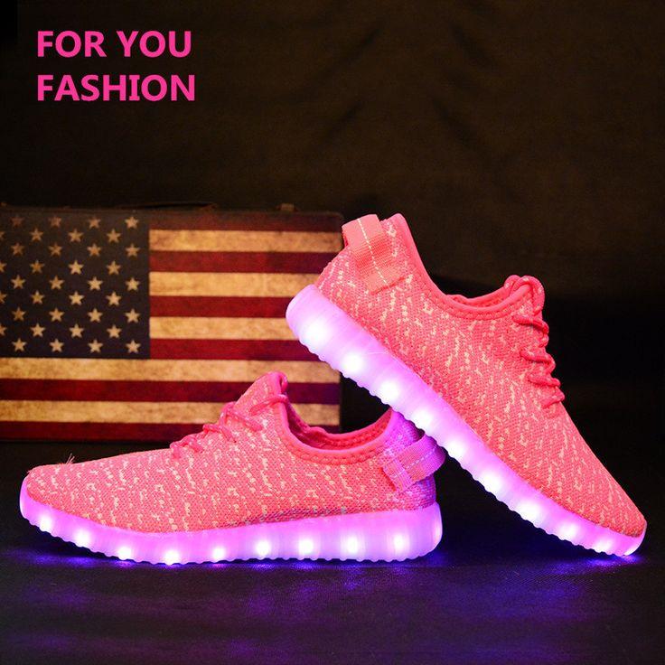MD Men&Women Light Up Shoes Fashion Yeezy Boost