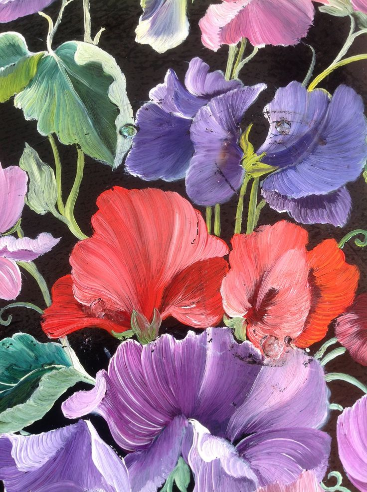 Hand painted sweet pea flowers wall palque by Gillian Litchfield gypsy boho garden home pink purple mauve red flowers by ReworkedHomewares on Etsy