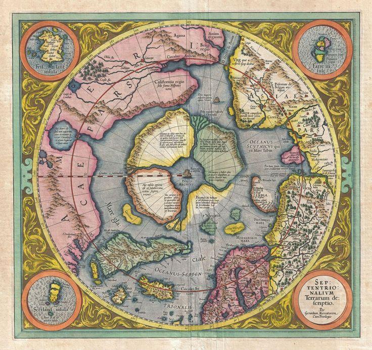 1606 Mercator Hondius Map of the Arctic