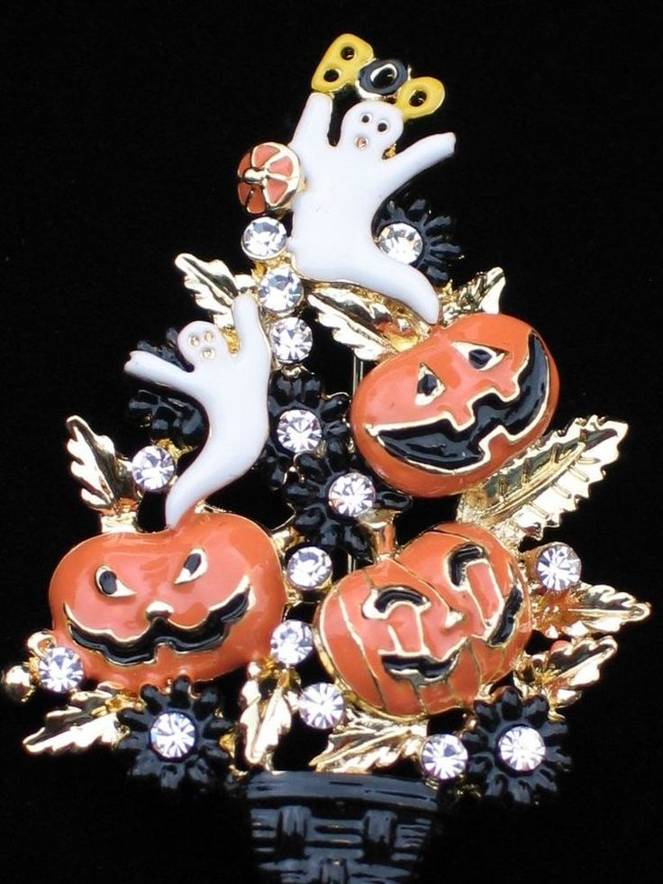 JACK LANTERN GHOST PUMPKIN HALLOWEEN CHRISTMAS TREE TOPIARY PIN BROOCH JEWELRY #Unbranded