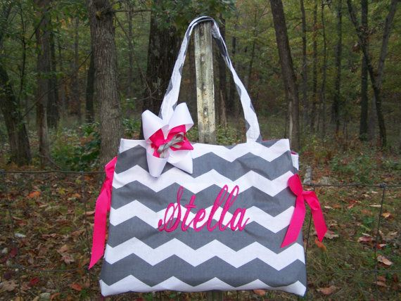 Gray Chevron hot pink monogram  Diaper Bag Tote Book by PlumSugah, $45.00