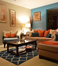 orange blue brown living room - Google Search