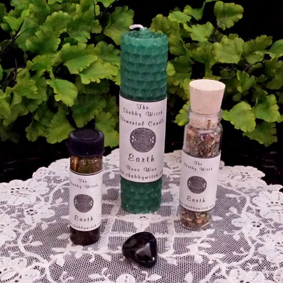 Elemental Candle Earth  Earth Spell by TheShabbyWitch on Etsy
