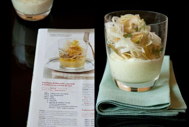Insalata di finocchi, carciofi e sedano su crema di riso