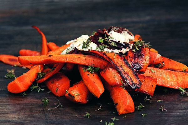 Burnt Carrots with Goat Cheese, Parsley, Arugula, and Crispy Garlic Chips