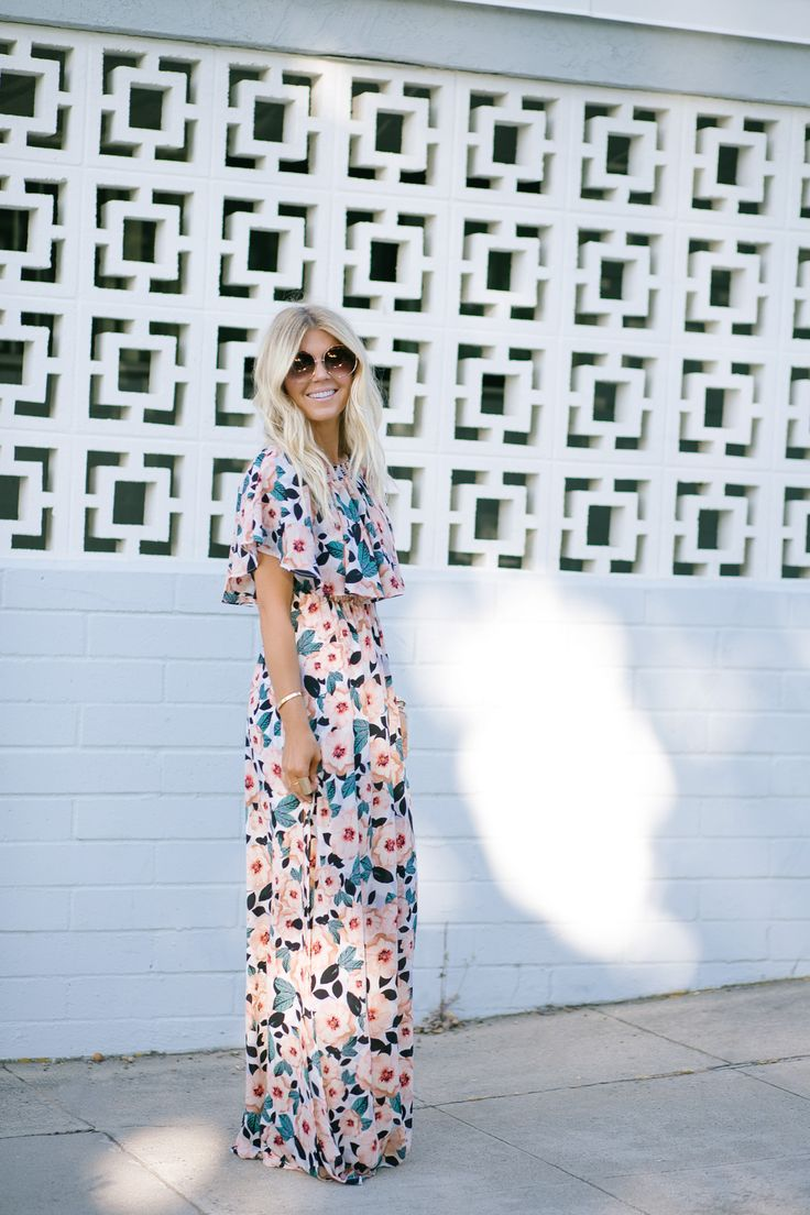 Lisa Allen of Lunchpails and Lipstick wearing a floral maxi dress by Show me your mumu paired with prada platforms