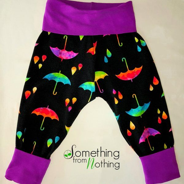 Grow with me pants that fit sizes 1, 2 and 3.  They are custom made with a variety of prints for both boys and girls.  They fit under cloth diapers and disposable diapers.  Each pair is handmade and made in Canada by a wahm (work at home mom).  So buy locally and ethically made clothing at www.handmadeclothing.ca