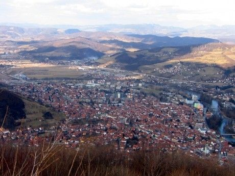 Visoko town - view from the top of the Pyramid of the Sun