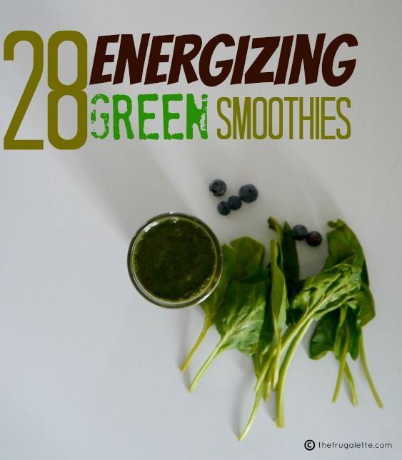28 Green Smoothie Recipes to Rock Your Day My fave: 1 frozen banana 2 to 3 heaping handfuls of spinach 2 tablespoons smooth peanut butter 2 tablespoons cocoa powder 1 to 1-1/2 cups almond (or soy or regular) milk + chia seeds