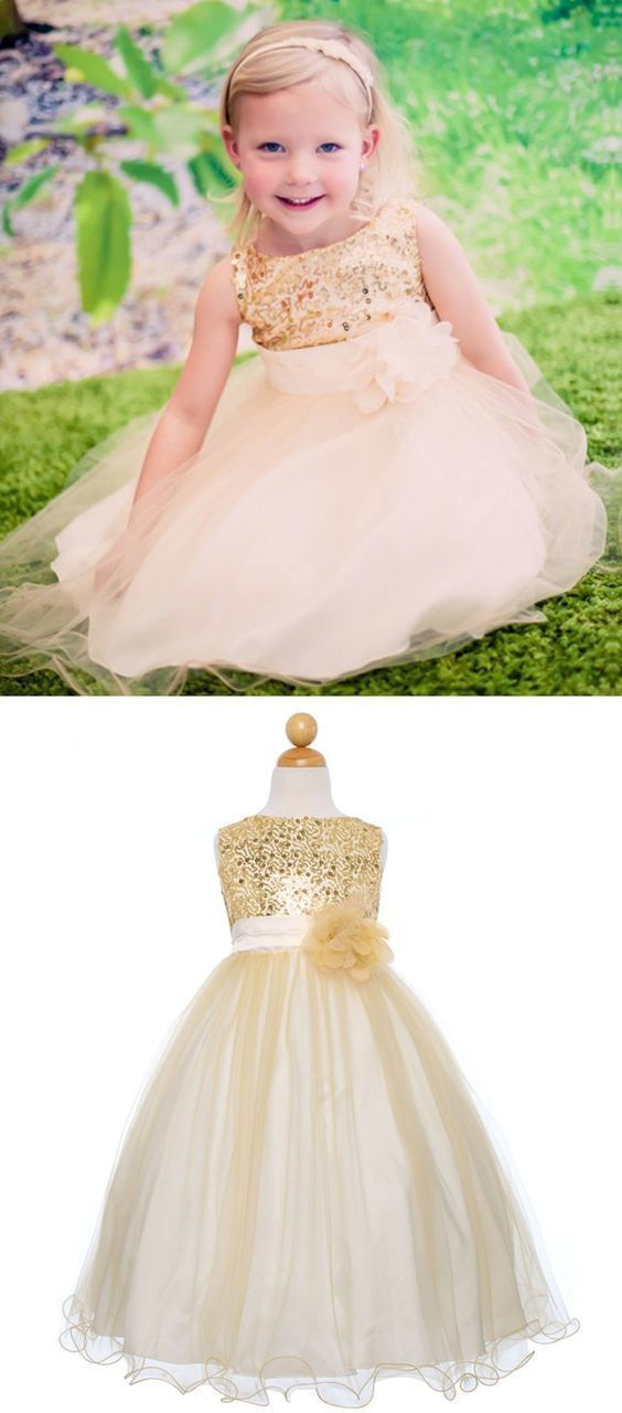 af35cf78288a Gold Sequins Ball Gown Empire Baby Flower Girl Dress with Flower in ...