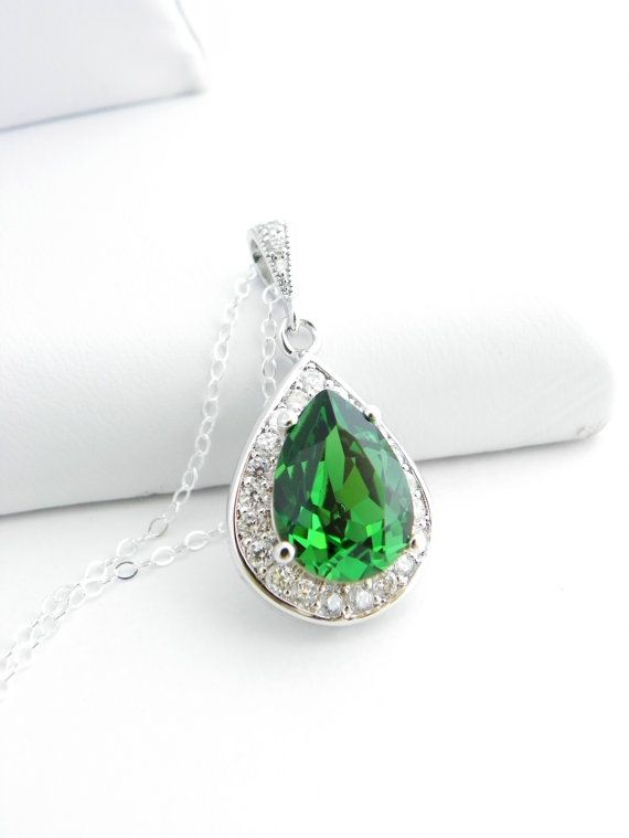 Bridesmaid Proposal Jewelry Gift, Dark Moss Green Swarovski Teardrop Necklace, Bridesmaid Statement Necklace, Bridesmaid Jewelry Ideas Greenery