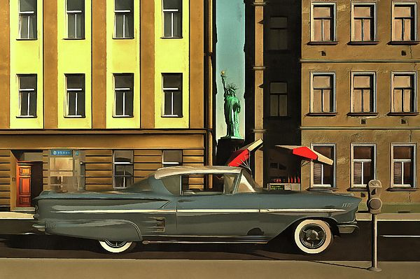 Title  Chevrolette Impala At The Big Apple  Artist  Jan Keteleer  Medium  Painting - Acryl On Canvas (tags) 1959, 1960, american, big apple, booth, buildings, car, cars, cart, cell, chevrolette, chevy, fifties, hot dog, liberty, new york, of, phone, statue, street, U.S.A., USA, veteran