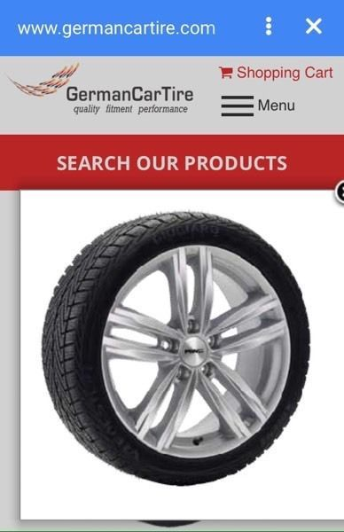 Winter package (tires on wheels) for 2016 Audi A3. Available to buy online. Check the website for more choices or to order winter tire & alloy wheel packages. Price per package (4 tires & 4 wheels). Comes with a tire professionally installed on a wheel.  www.GermanCarTire.ca