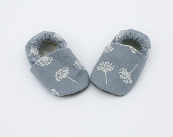 Wind Organic Cotton Dandelion Baby Shoes- Eco Friendly Gray and natural Slippers 0 3 6 12 18 months - Baby Clothes Gift for Baby Spring 2014...
