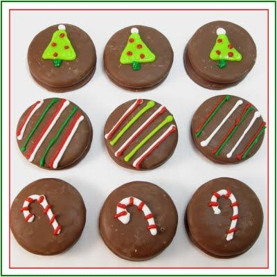 Christmas oreos - I haven't seen chocolate covered oreos here, but there are lots of other biscuits that would work, mint slices etc