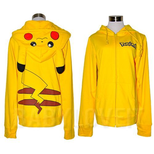 Pokemon Pikachu Ears Hoody Hoodie sweatshirt  cosplay Costume Halloween Japan