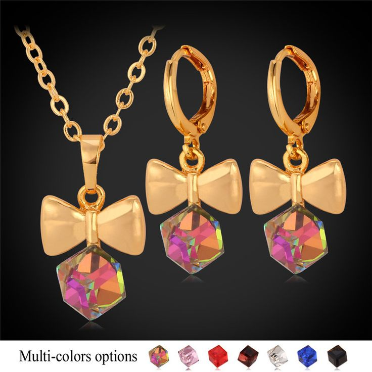 Cheap Jewelry Sets, Buy Directly from China Suppliers:                      Crystal Pendant Necklace Earrings Set For Women 18K Real Gold Plated Rhinestone Fancy Trendy