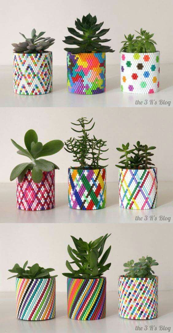 Hama bead planters. Link: https://the3rsblog.wordpress.com/2014/07/17/woven-planter-update/
