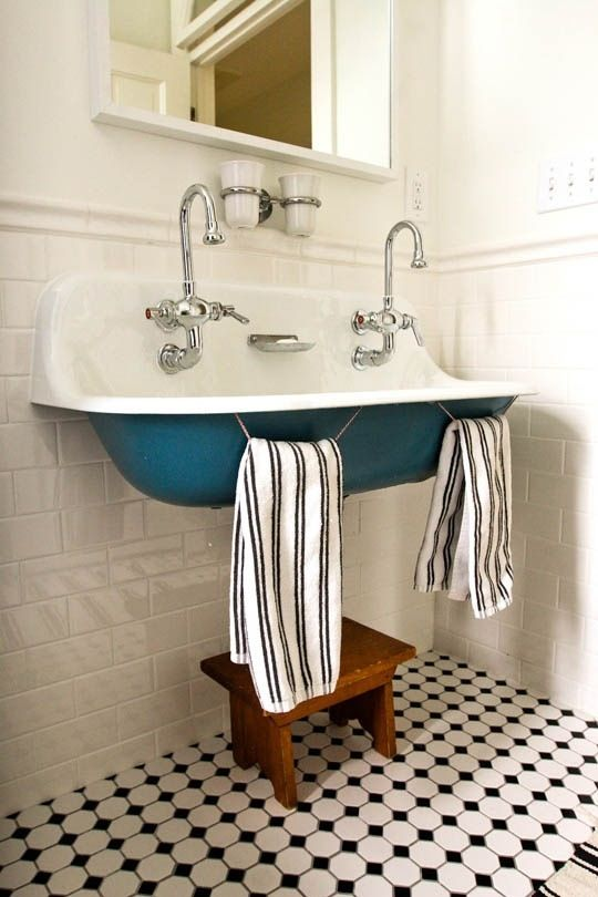 Vintage wall mount bathroom double sink | love the blue under belly!