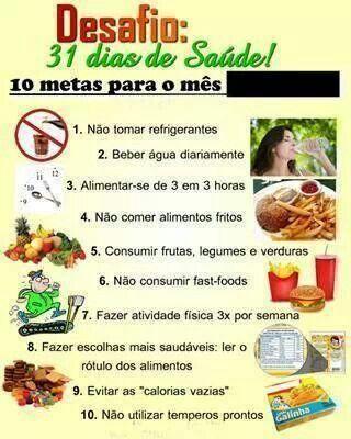 10 metas importantes para quem está em Reeducação Alimentar.