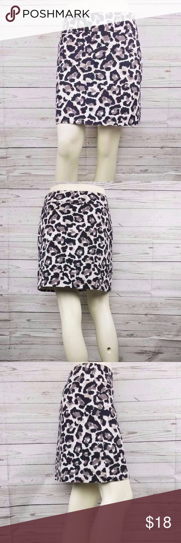 """Ann-Taylor LOFT Leopard Print Mini Skirt Size 0 Black Brown White  Leopard Print  A-Line Short Skirt - Women's Sz 0 Black, Browns, Beige Background - Animal Print   A-Line or Mini/Short Pencil (more of an A-line) Fully Lined Zips up on the Side  2 Front Pockets  Excellent Used Condition-Please see photos for best details Smoke and Pet free home  Measurements: Waist –30""""in Hips – 36"""" Length - 16 1/2""""  Material: 57% Cotton 42% Rayon 1% Spandex  160-285164 ID# 70026 Ann Taylor LOFT Skirts Mini"""