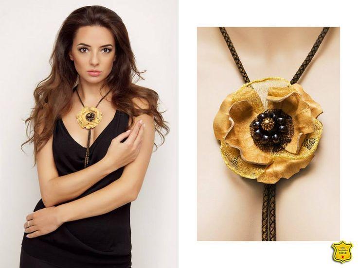 украшение из кожи в виде галстука, с металлизированной золотой сеткой, фурнитура Tierra Cast