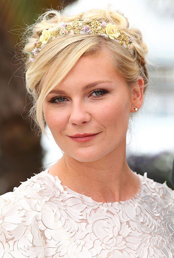 Messy-Updo-with-Floral-Headband Most Coolest Wedding Hairstyles with Headband