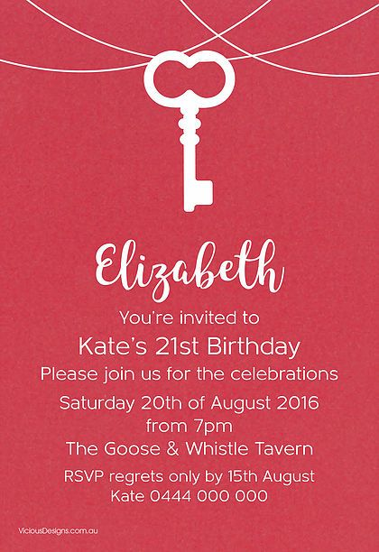 Key Birthday invitation from our 'Fire & Ice' range featuring vintage key on delicate strings. White ink printed on Sassy red shimmer card.