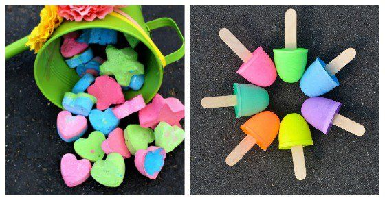 There are so many fun ways to make DIY chalk, including some really awesome ideas like exploding chalk and glow in the dark chalk!