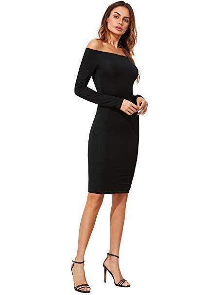 21155c31094 Romwe Women s Off Shoulder Long Sleeve Bodycon Cocktail Party Club Pencil  Dress at Amazon Women s Clothing