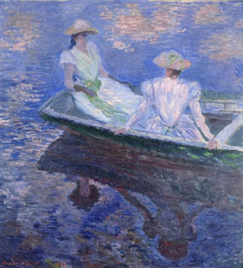Monet. Young girls in a row boat.