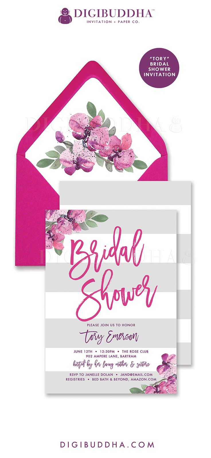 free e cards bridal shower invitations%0A Bridal Shower Invitation    Tory   style with beautiful romantic pink and  purple watercolor florals
