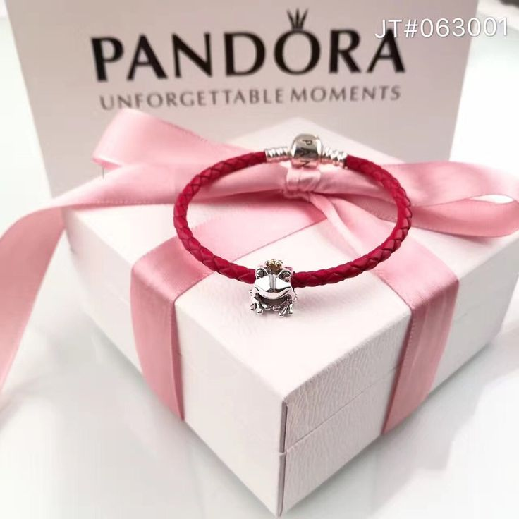 pandora red leather bracelet frog charm bracelet