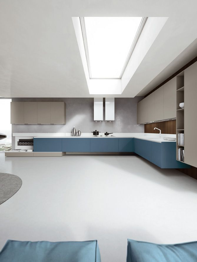 Matt Fine Grey and Petro Blue laquered doors. Corian® Glacier White top. #ArritalCucine #Kculture #modern #kitchen #Ak04