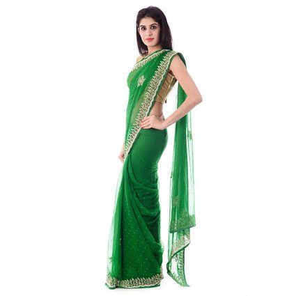 Shri Krishnam Women's Chiffion Cut-Dana Moti and Stone Work Saree (Green_Free Size): Amazon.in: Clothing & Accessories