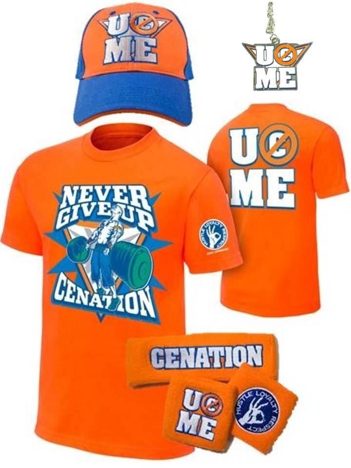 John Cena Kids Orange Costume Hat Pendant T-shirt Wristbands Boys Youth L