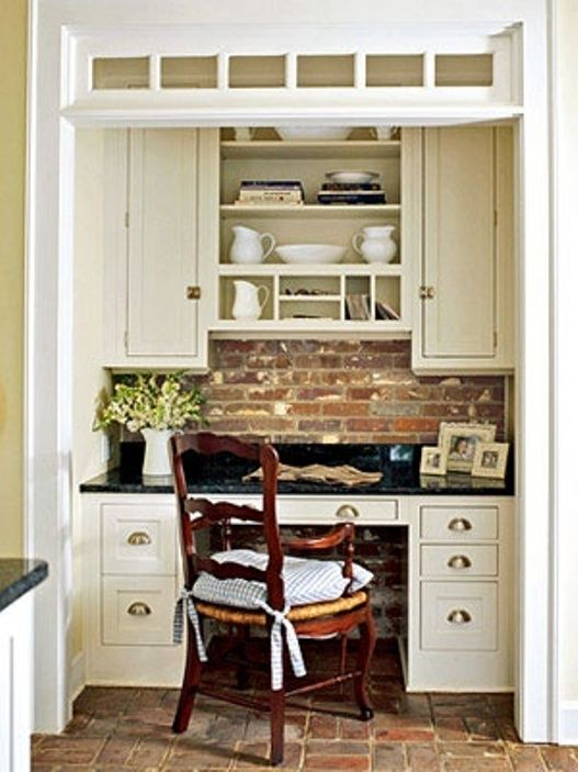 Office nook off a ktichen - love the brick backsplash with white cabinets and cup handles  love this for a kitchen
