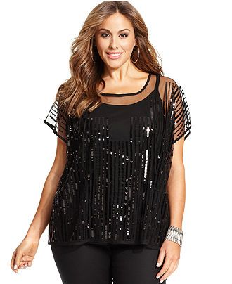 Plus Size Sequined Top - Macy's
