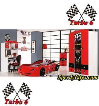 Turbo 6 Arabalı Çocuk Odası Kırmızı