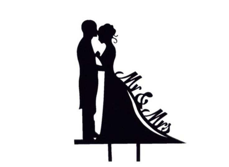 Wedding  Mr and Mrs Silhouette Black Cake Pick - WeddingWish.com.au