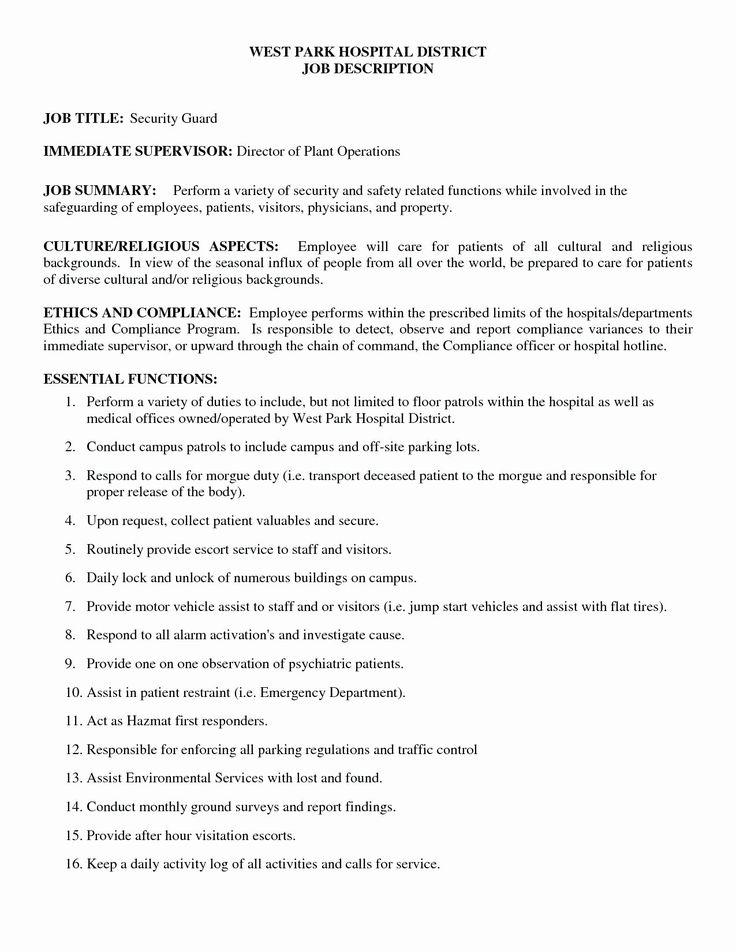 Security Guard Job Description Resume Luxury Security Fi