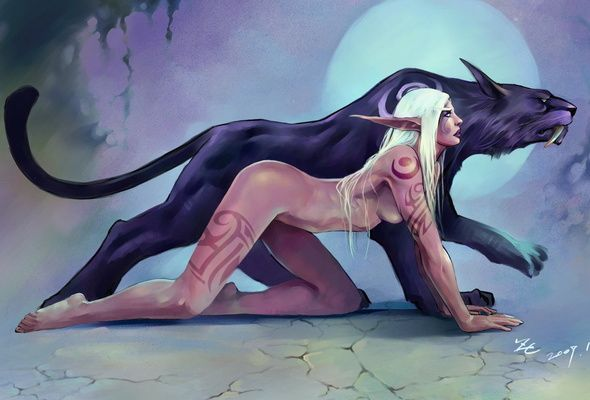 female elf with black wolf | Wallpaper warcraft, elf, moon, wolf