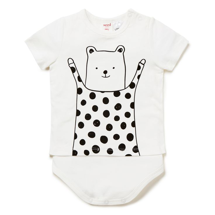 Cotton/Elastane blend Bodysuit. Short sleeve t-shirt bodysuit. Features bear placement print on front. Regular fitting silhouette with snaps on baby's left shoulder and at gusset for easy dressing. Available in Canvas.