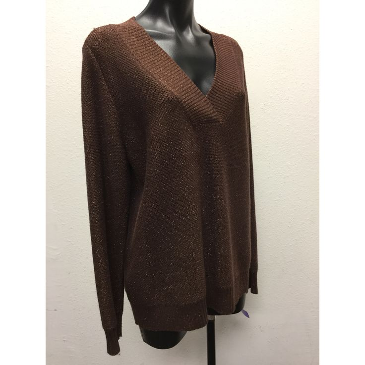 Susan Graver Metallic Vneck Sweater