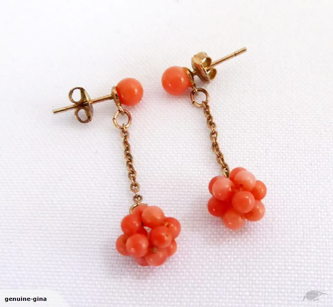 Charming vintage real natural Angelskin Coral dangle earrings